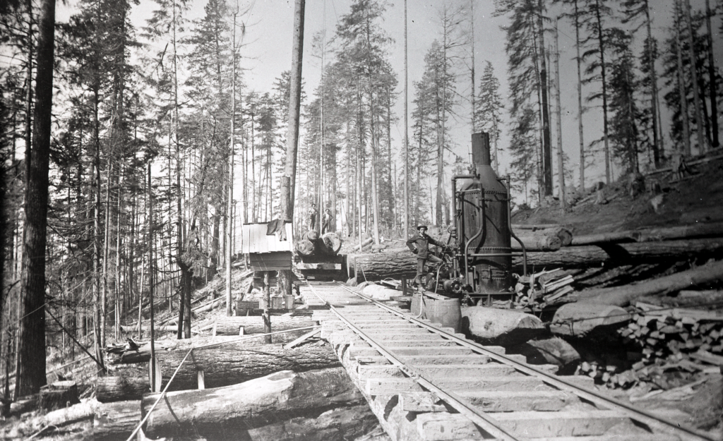 This logging camp operated their steam donkey alongside a railroad spur. [CHM 992.8.0485]
